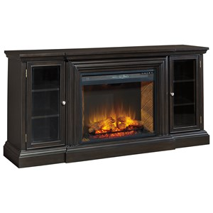 Ashley Signature Design Carlyle XL TV Stand with Electric Fireplace Insert