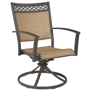 Signature Design by Ashley Carmadelia Set of 2 Outdoor Sling Swivel Chairs