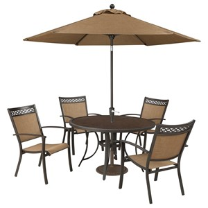 Signature Design by Ashley Carmadelia Outdoor Round Dining Table Set w/ Umbrella