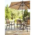 Signature Design by Ashley Carmadelia Outdoor Round Dining Table Set w/ Umbrella