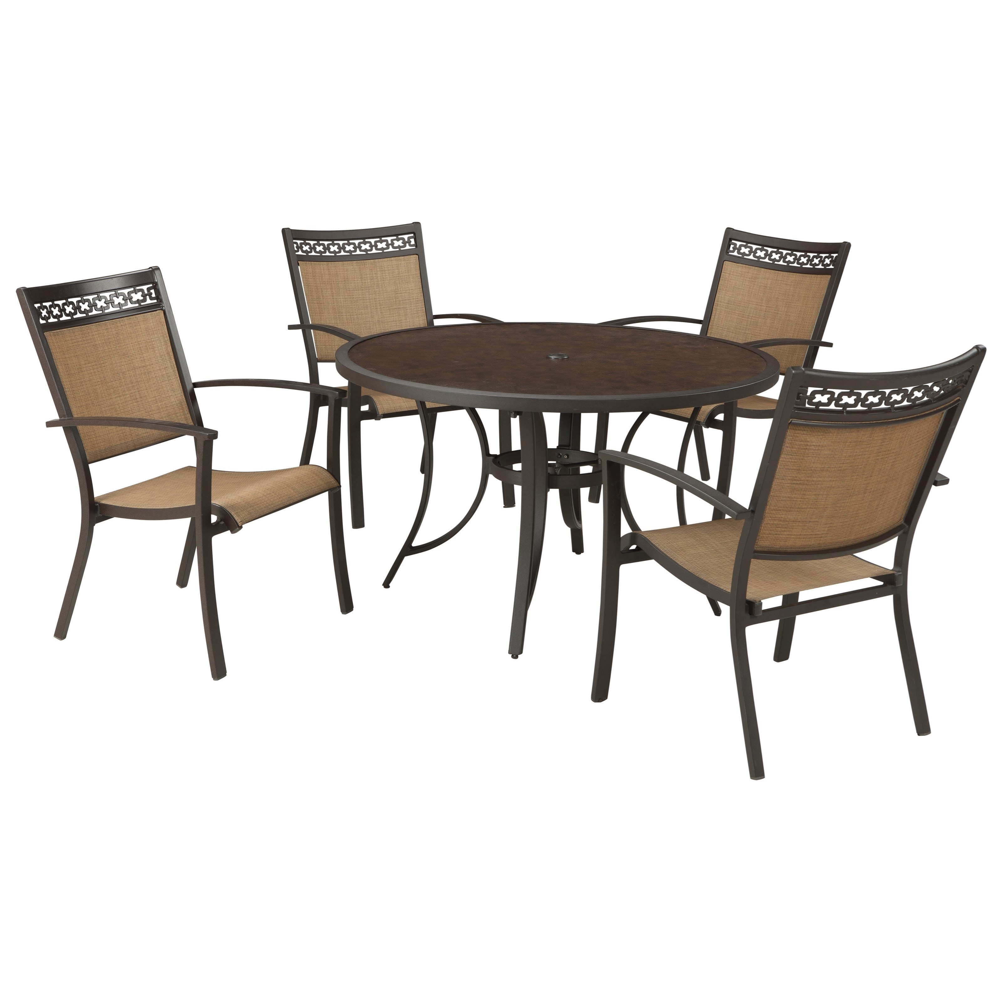 Outdoor round dining table - Signature Design By Ashley Carmadelia Outdoor Round Dining Table Set Item Number P376