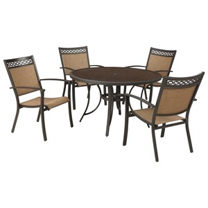 Signature Design By Ashley Carmadelia Outdoor Round Dining Table Set