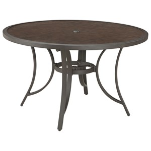 Signature Design by Ashley Roscoe Outdoor Round Dining Table w/ Umbrella Opt