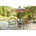 Signature Design by Ashley Carmadelia Outdoor Round Dining Table w/ Umbrella Option