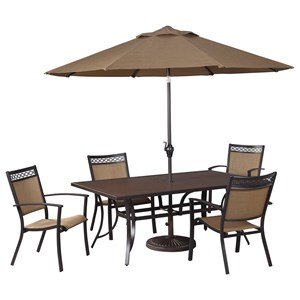Signature Design by Ashley Carmadelia Outdoor Rect Dining Table Set w/ Umbrella