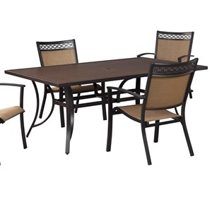 Signature Design by Ashley Carmadelia Outdoor Rect Dining Table w/ Umbrella Opt