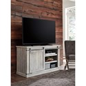 Signature Design by Ashley Carynhurst Rustic White Medium TV Stand with Barn Door Hardware