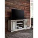 Signature Design by Ashley Carynhurst Rustic White Large TV Stand with Barn Door Hardware