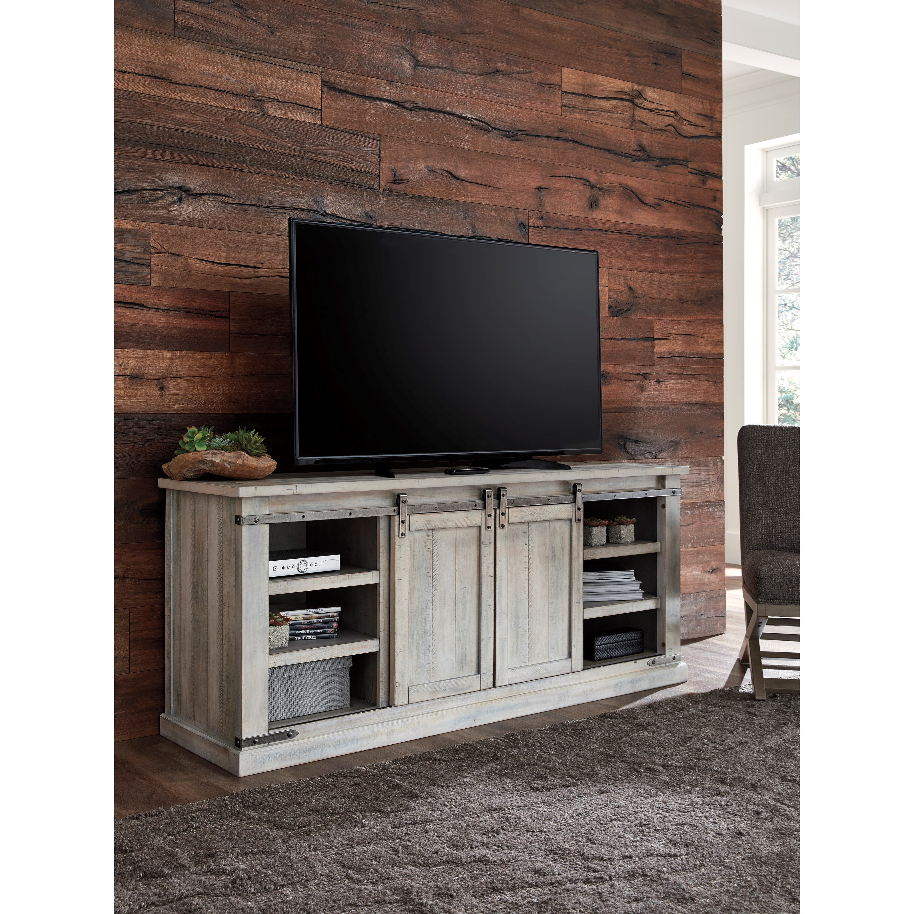 Ashley Furniture Cary Nc: Del Sol AS Carynhurst W755-68 Rustic White Extra Large TV