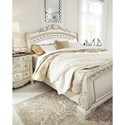 Signature Design by Ashley Cassimore Traditional King Sleigh Bed in Silver Finish