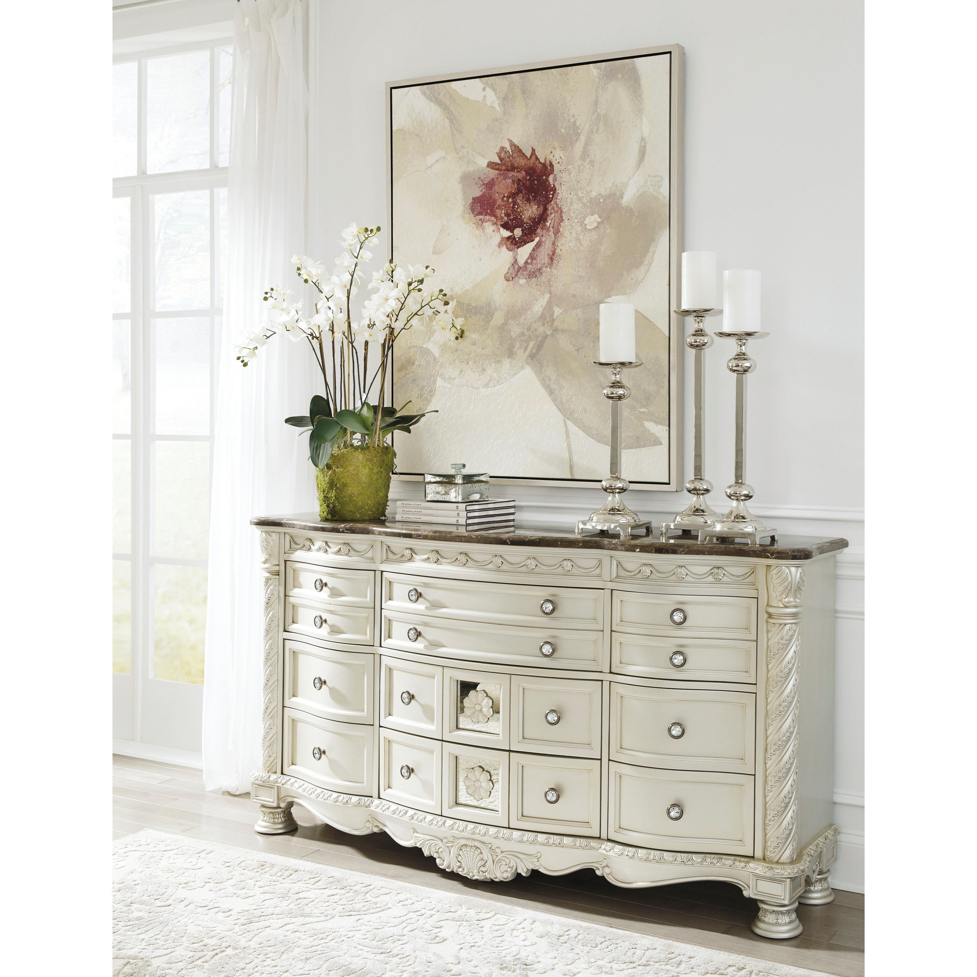 Castleton Traditional Dresser With Marble Parquetry Top