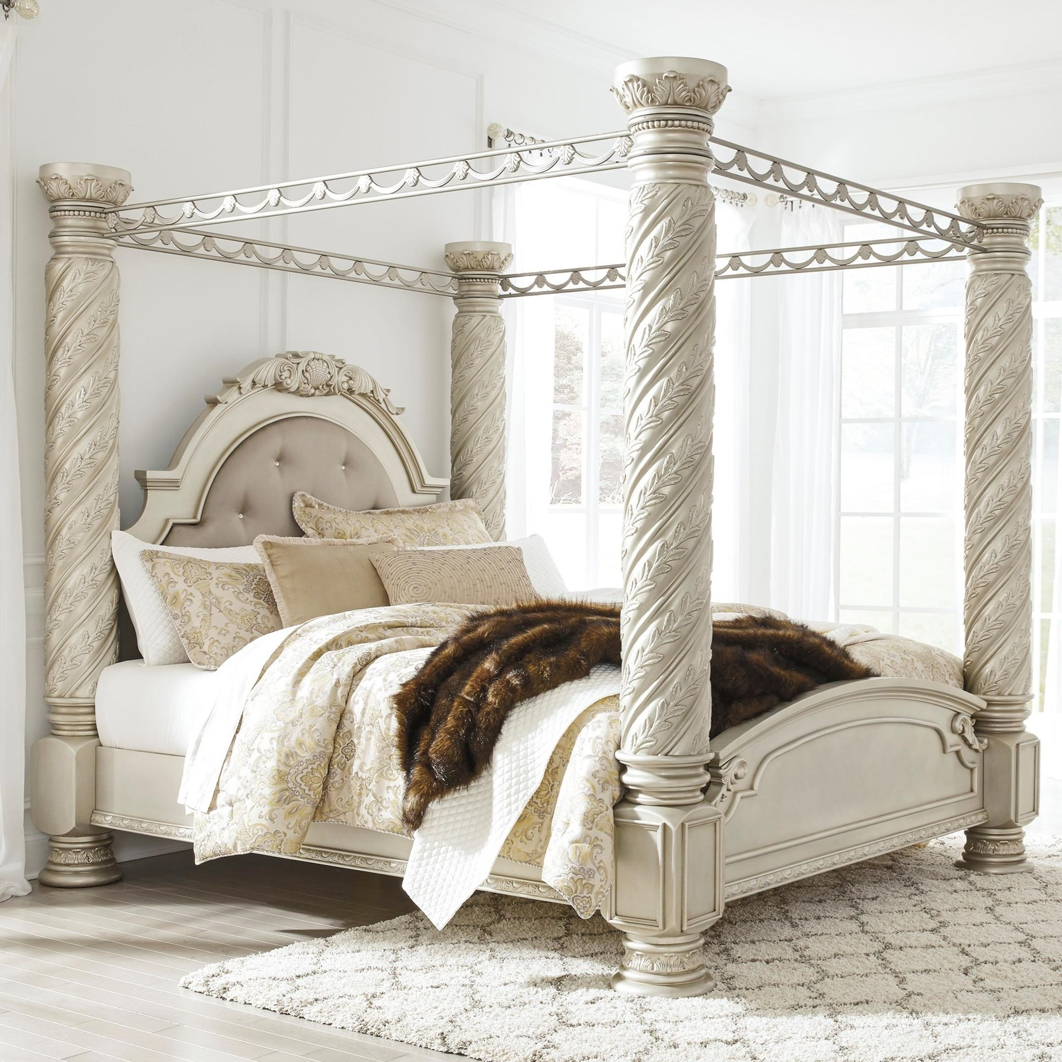 Signature Design By Ashley Cassimore Traditional California King Poster Canopy Bed With Large Posts Pilgrim Furniture City Canopy Beds