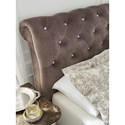 Signature Design by Ashley Cassimore Queen Upholstered Sleigh Bed with Faux Crystal Tufting