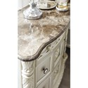 Signature Design by Ashley Cassimore Three Drawer Night Stand with Brown Marble Parquetry Top