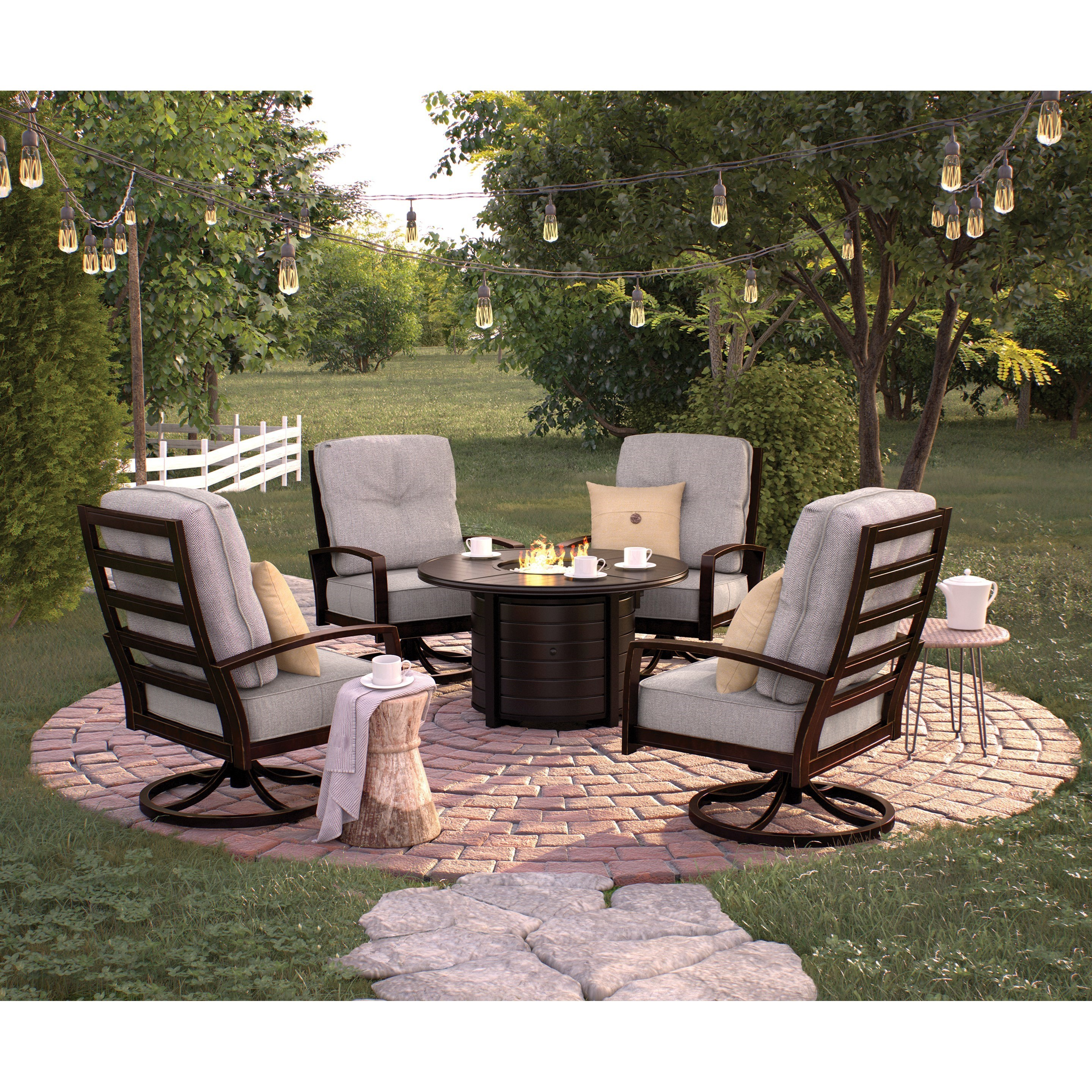 Signature Design by Ashley Castle Island Outdoor Conversation Set - Item Number: P414-776+4x821
