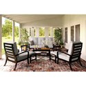 Signature Design by Ashley Castle Island Outdoor Conversation Set - Item Number: P414-838+2x820+2x814+701+2x702