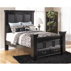 Signature Design by Ashley Furniture Cavallino Queen Mansion Bed with Storage Footboard