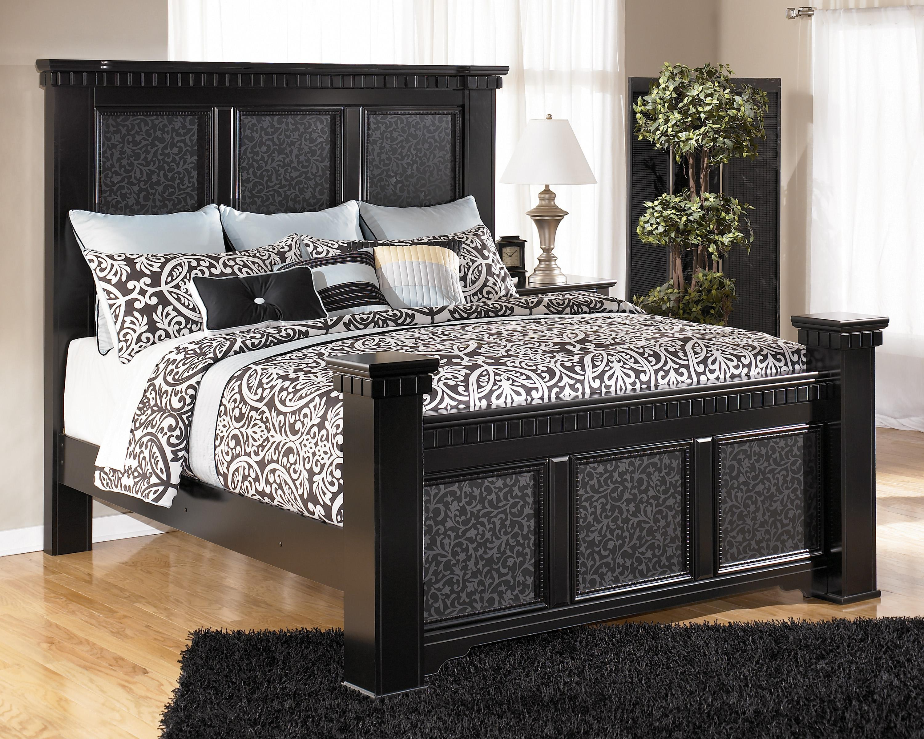 Signature Design by Ashley Cavallino King Mansion Poster Bed - Item Number: B291-158+166+99