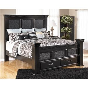 Signature Design by Ashley Cavallino King Mansion Bed with Storage Footboard