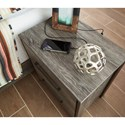 Signature Design by Ashley Cazenfeld Modern Rustic Two Drawer Night Stand with USB Charging Ports