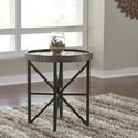 Signature Design by Ashley Cazentine Contemporary Round End Table with Metal Base