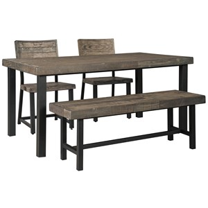 Signature Design by Ashley Cazentine 4-Piece Dining Table Set with Bench