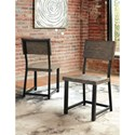 Signature Design by Ashley Cazentine Industrial Pine/Metal 4-Piece Dining Table Set with Bench
