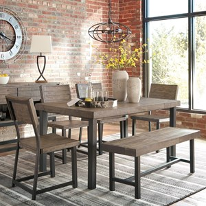 Signature Design by Ashley Cazentine 6-Piece Table Set with Bench