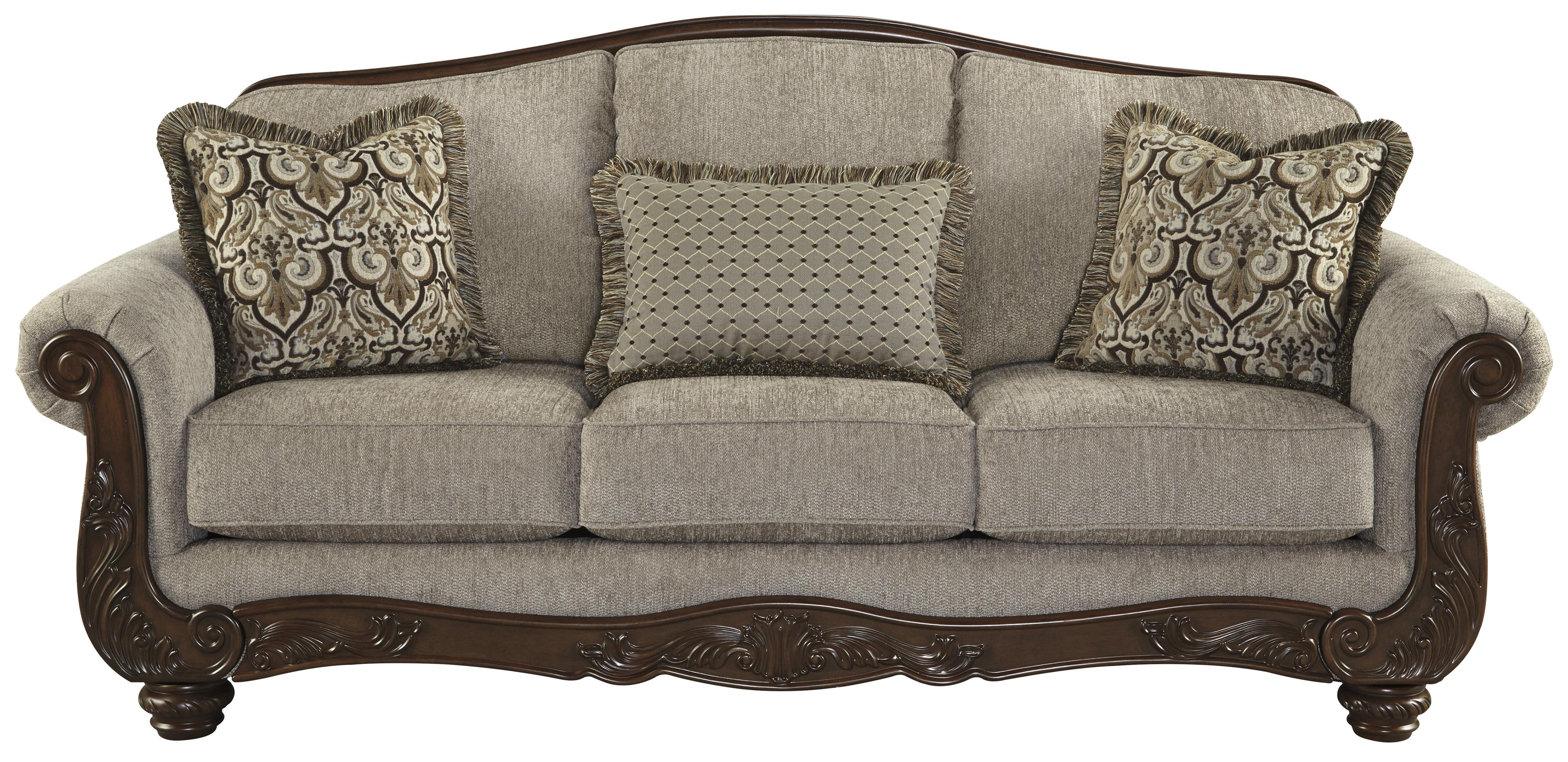 Signature Design By Ashley Cecilyn Traditional Sofa With Showood Trim Camel Back Olinde 39 S
