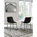 Signature Design by Ashley Centiar Contemporary Black Faux Leather Dining Upholstered Side Chair with Bucket Seat