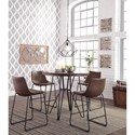 Signature Design by Ashley Centiar Round Dining Room Counter Table with Metal Hair Legs