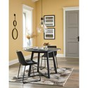 Signature Design by Ashley Centiar 3-Piece Round Dining Table Set with Black Faux Leather Chairs