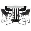 Signature Design by Ashley Centiar 5-Piece Round Counter Table Set - Item Number: D372-23+4x624