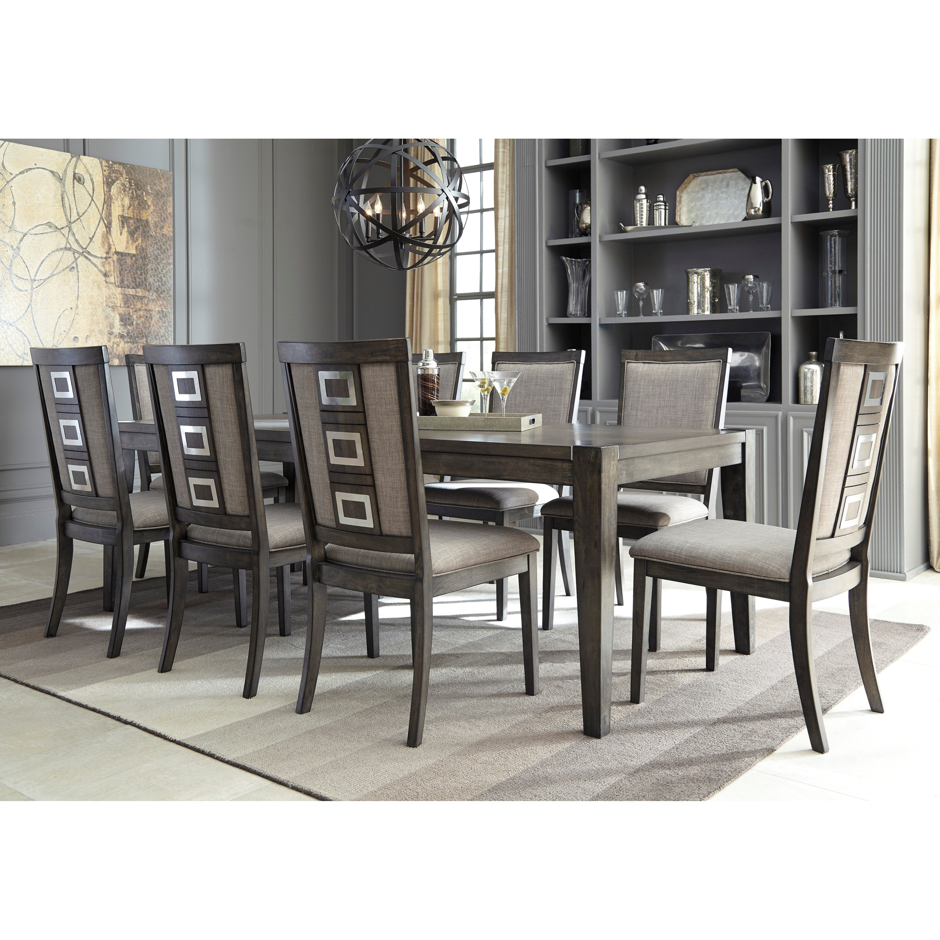 Signature design by ashley chadoni 9 piece contemporary for 2 piece dining room set
