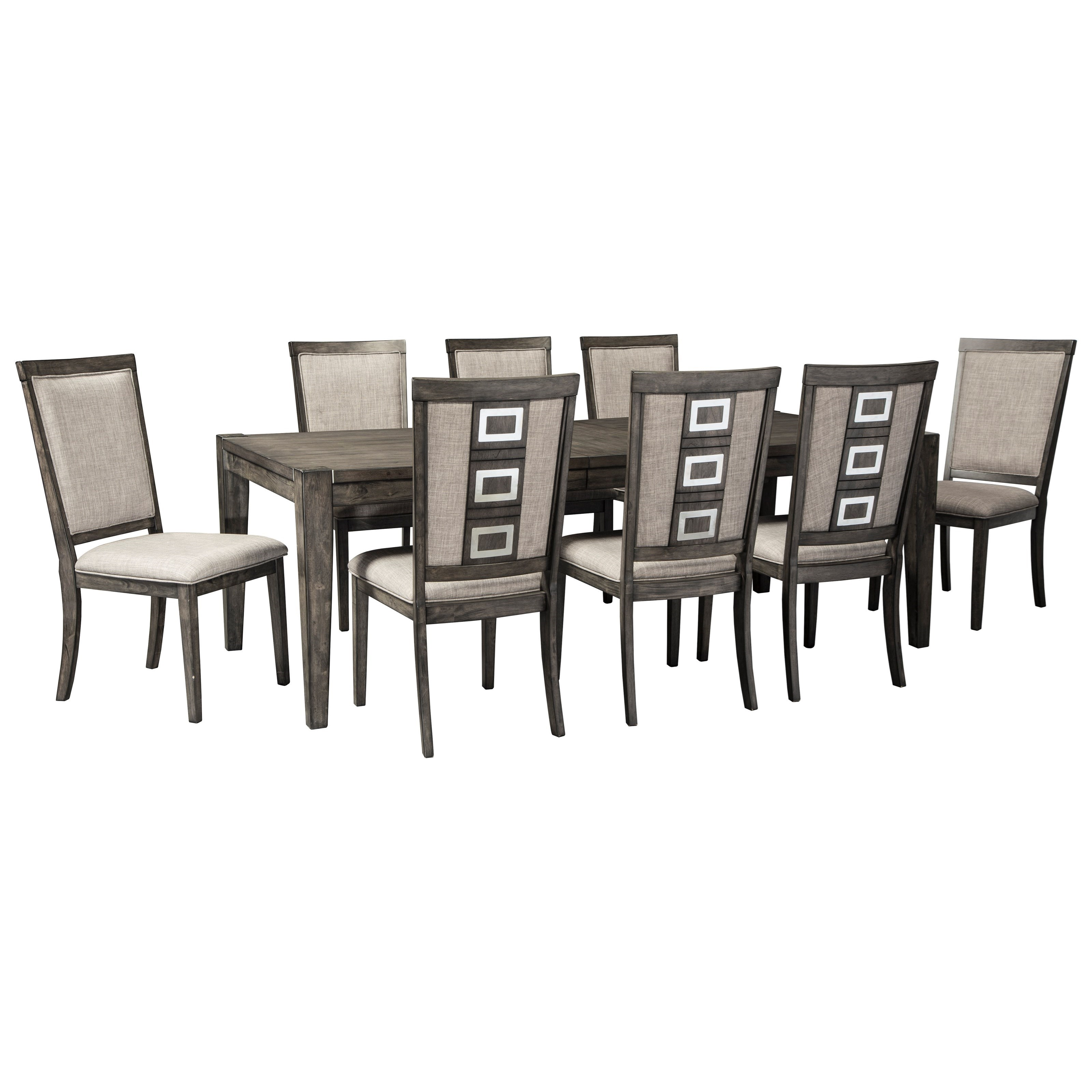 9 Piece Contemporary Rectangular Table Set