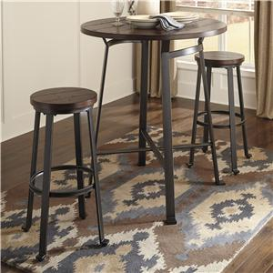 Ashley Signature Design Challiman 3-Piece Round Bar Table Set
