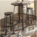 Signature Design by Ashley Challiman 3-Piece Round Bar Table Set - Item Number: D307-12+2x130