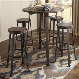 Ashley Signature Design Challiman 5-Piece Round Bar Table Set