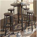 Signature Design by Ashley Challiman 5-Piece Round Bar Table Set - Item Number: D307-12+4x130