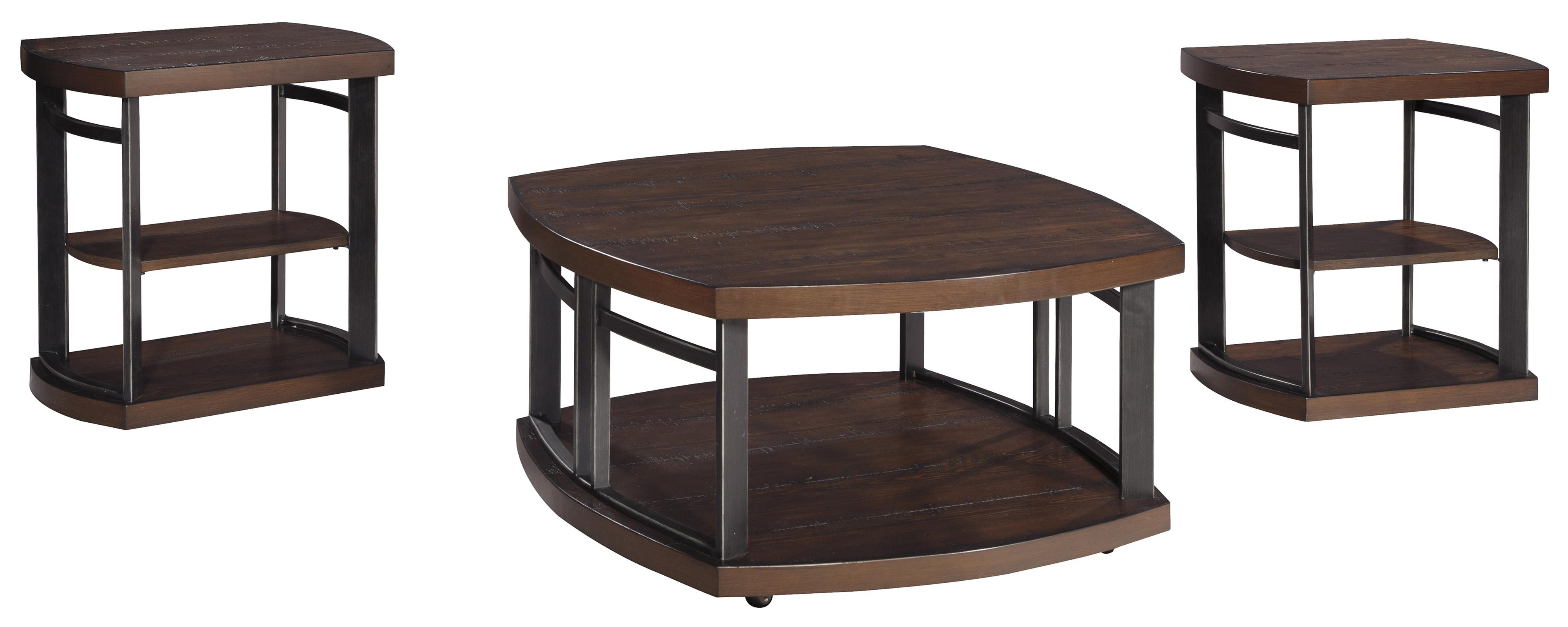 Signature Design By Ashley Challiman 3 Piece Occasional Table Set With Distressed Pine Tops