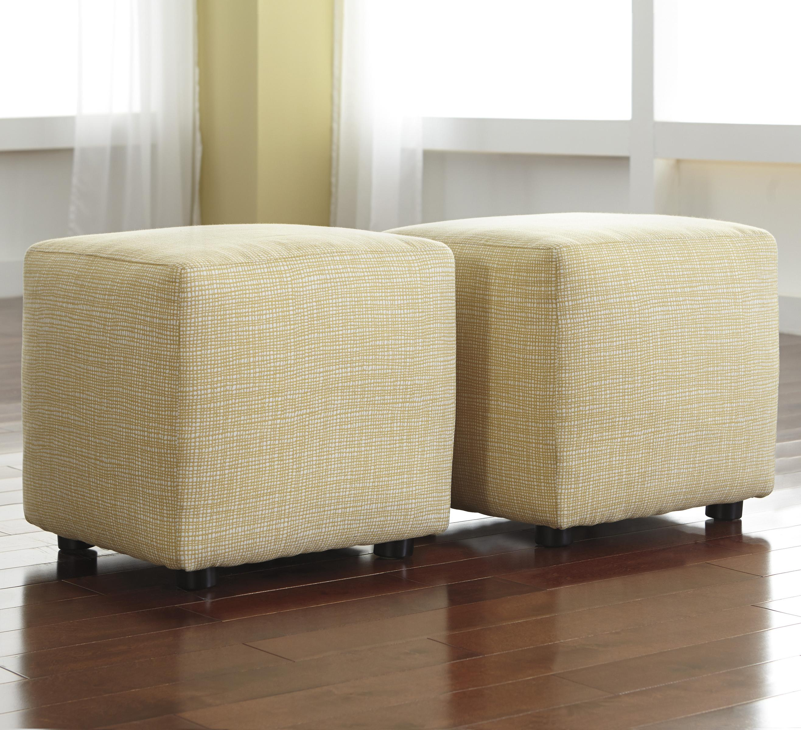 Signature Design by Ashley Chamberly - Alloy Set of 2 Cube Ottomans - Item Number: 2430213