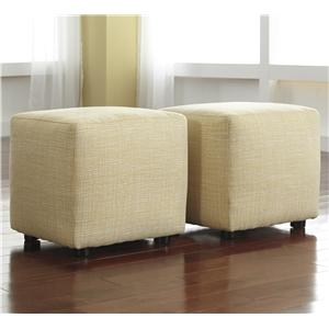 Ashley Signature Design Chamberly - Alloy Set of 2 Cube Ottomans