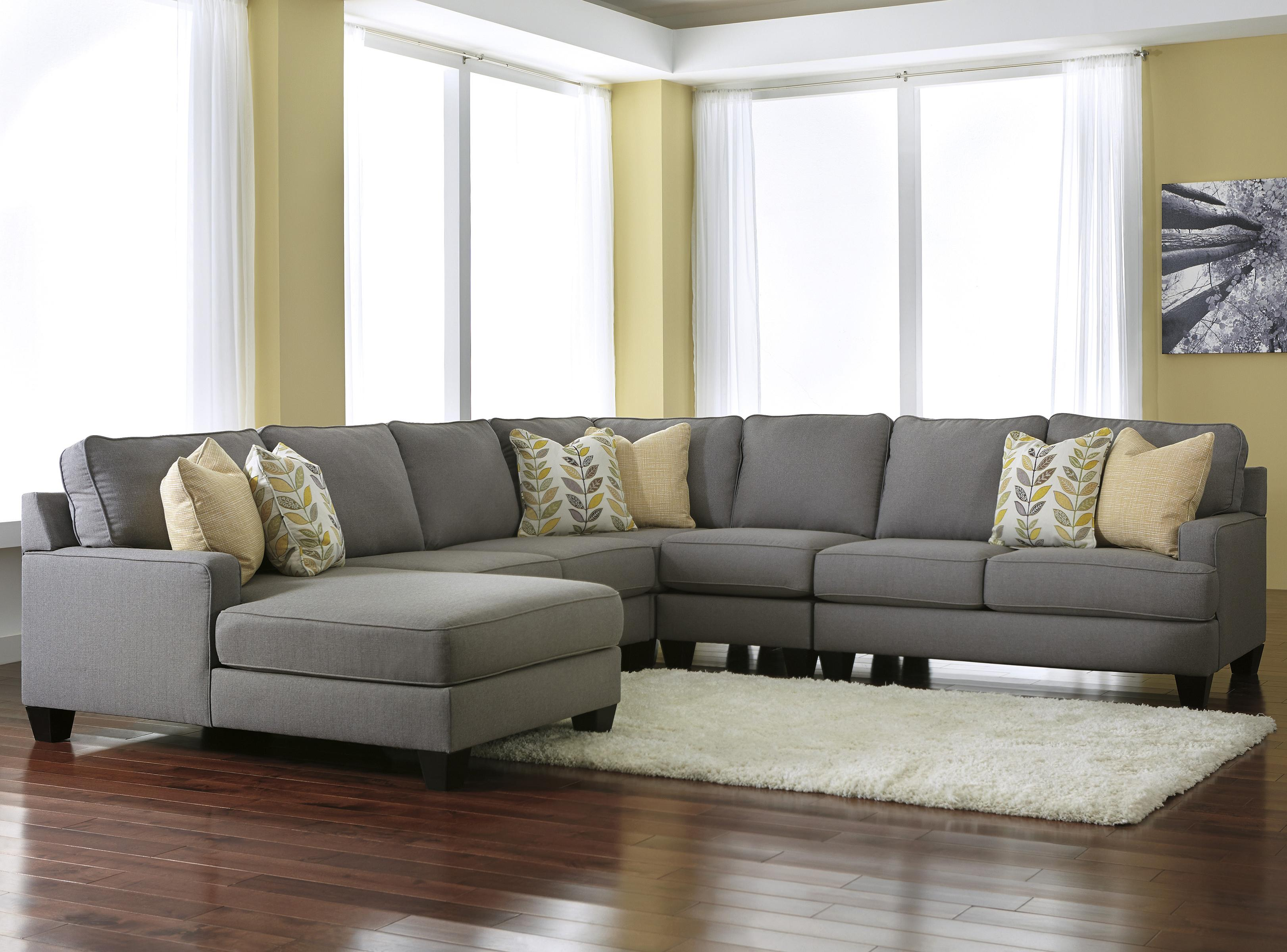 Signature Design by Ashley Chamberly - Alloy 5-Piece Sectional Sofa with Left Chaise - : left chaise sectional - Sectionals, Sofas & Couches