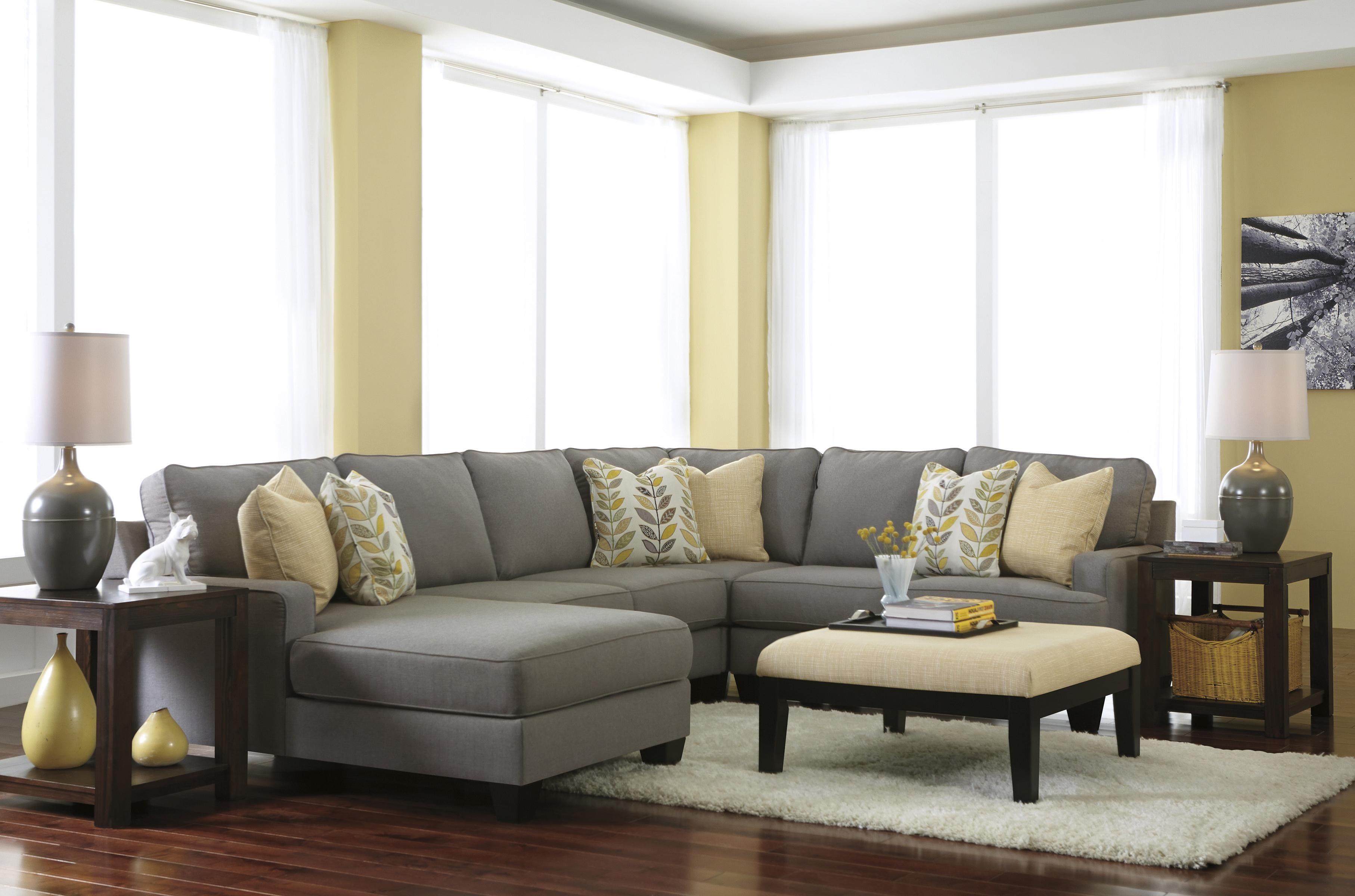 Signature design by ashley chamberly alloy modern 4 for Ashley sectional sofa with chaise