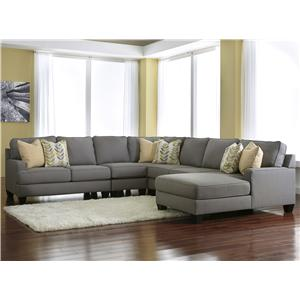 Signature Design by Ashley Chamberly - Alloy 5-Piece Sectional Sofa with Right Chaise