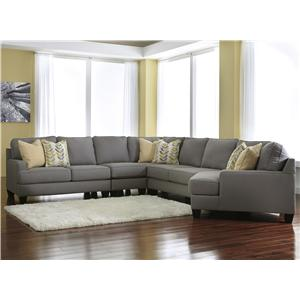 Signature Design by Ashley Chamberly - Alloy 5-Piece Sectional Sofa with Right Cuddler