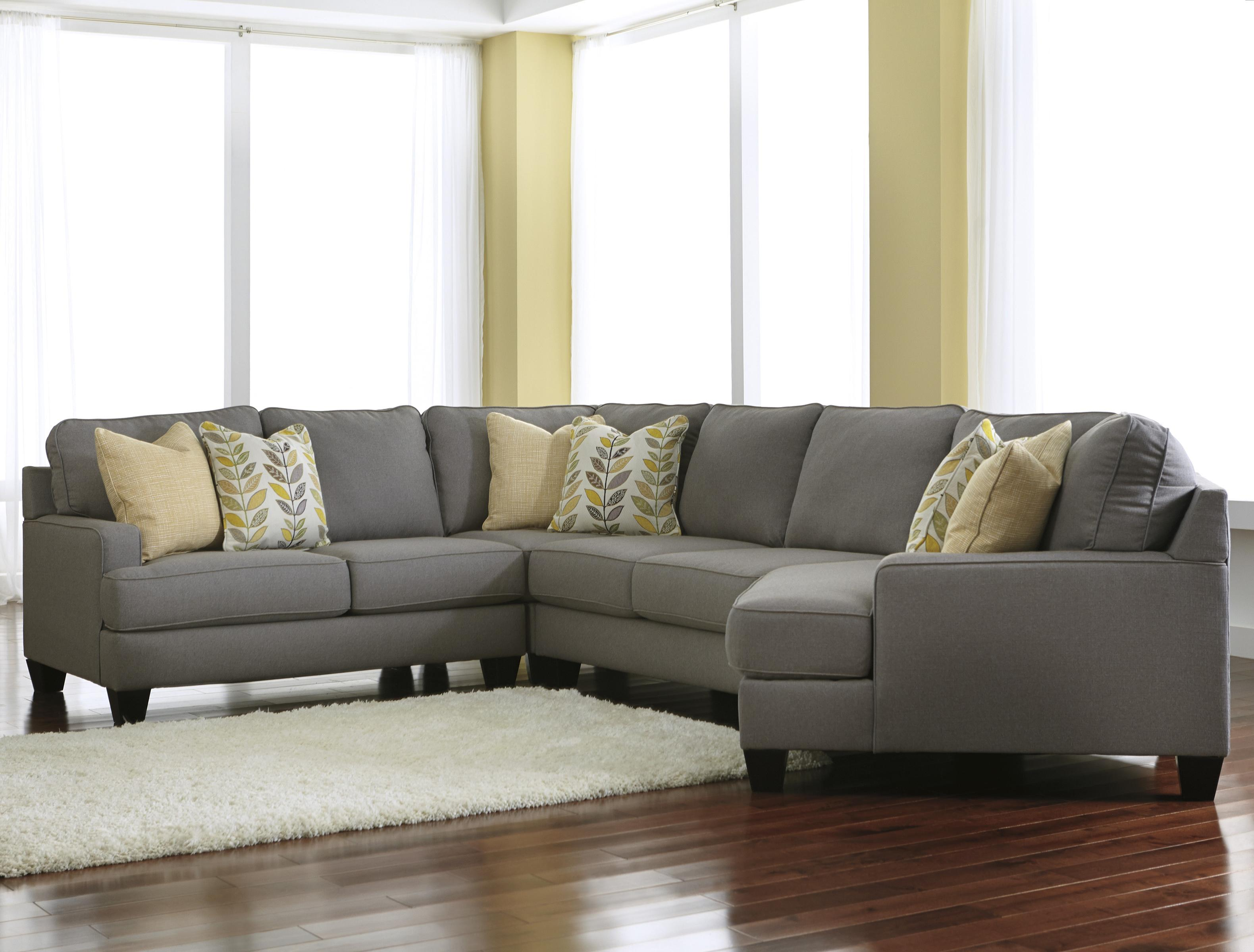 Signature Design By Ashley Chamberly   Alloy 4 Piece Sectional Sofa With  Right Cuddler