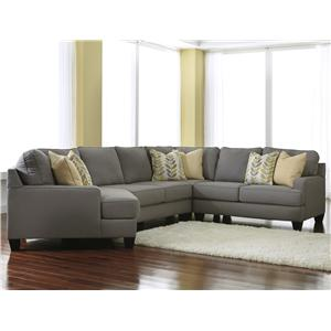 Signature Design by Ashley Chamberly - Alloy 4-Piece Sectional Sofa with Left Cuddler