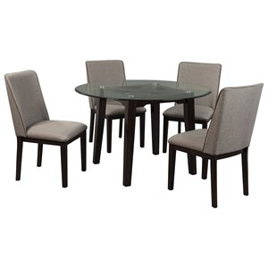 Benchcraft Chanceen 5-Piece Round Glass Top Table Set