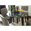 Signature Design by Ashley Chanceen Contemporary Round Glass Top Table with Dark Brown Wood Legs